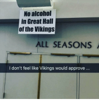 Not Sure They Would Approve: No alcohol  in Great Hall  of the Vikings  ALL SEASONS  I don't feel like Vikings would approve.. Not Sure They Would Approve