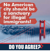 American, Sanctuary, and City: No American  city should be  a for illegal  immigrants  DO YOU AGREE? End sanctuary cities!