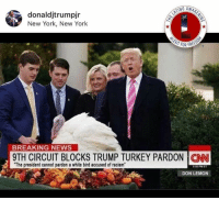 Memes, New York, and News: NO AWA  donaldjtrumpjr  New York, New York  BREAKING NEWS  9TH CIRCUIT BLOCKS TRUMP TURKEY PARDON ICON  The president cannot pardon a white bird accused of racism  05 PM ET  DON LEMON (GC)