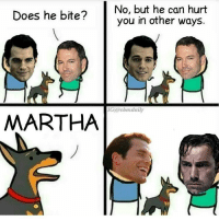 No, but he can hurt  Does he bite?  you in other ways  MARTHA Tag your friends!😂🔥 Follow @comic.book.memes (me) for more🍻 - - - justiceleague superman captainamerica batman wonderwoman arrow theflash gotham spiderman batmanvsuperman comicbookmemes justiceleaguememes avengers avengersmemes deadpool dccomics dcmemes dccomicsmemes marvel marvelcomics marvelmemes starwars doctorstrange captainamericacivilwar doctorstrange