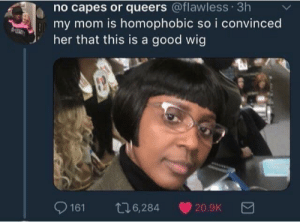 Good, Mom, and Her: no capes or queers @flawless 3h  my mom is homophobic so i convinced  her that this is a good wig  9161 t6,284 20.9K 🏳️‍🌈🏳️‍🌈🏳️‍🌈