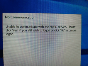 """The lack of space between the c and l in """"click"""": No Communication  Unable to communicate with the MYPC server. Please  dick 'Yes' if you still wish to logon or didk 'No' to cancel  logon.  ick No The lack of space between the c and l in """"click"""""""