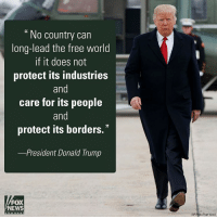 President DonaldTrump discussed the need to strengthen U.S. industries, rather than turn the focus abroad, during a speech at the American Center for Mobility in Michigan.: No country can  long-lead the free world  if it does not  protect its industries  and  care for its people  and  protect its borders.  -President Donald Trump  FOX  NEWS  c h a n n e  (AP Photo/Evan Vucci) President DonaldTrump discussed the need to strengthen U.S. industries, rather than turn the focus abroad, during a speech at the American Center for Mobility in Michigan.