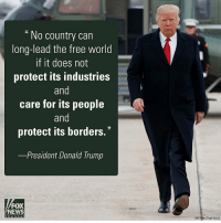"America First 🇺🇸 Trumplicans PresidentTrump MakeAmericaGreatAgain TrumpTrain AmericaFirst: No country can  long-lead the free world  if it does not  protect its industries  and  care for its people  and  protect its borders.""  -President Donald Trump  FOX  NEWS  c h a n n e  (AP Photo/Evan Mucci) America First 🇺🇸 Trumplicans PresidentTrump MakeAmericaGreatAgain TrumpTrain AmericaFirst"