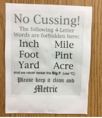 What if I tripped and injured my foot in the yard?⠀ metric imperial 9gag: No Cussing!  The following 4-Letter  Words are forbidden here:  Inch Mile  Foot Pint  Yard Acre  And we never swear the Big F (use °C)  please keep it clean ant  Metric What if I tripped and injured my foot in the yard?⠀ metric imperial 9gag