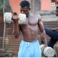 Gym, Old, and Metal: NO EXCUSES.  This 28-year-old Ghanaian bodybuilder built his gym equipment from scrap metal and concrete 💪