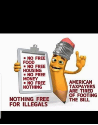 Nothing Free: NO FREE  FOOD  NO FREE  HOUSING  NO FREE  MONEY  AMERICAN  TAXPAYERS  ARE TIRED  OF FOOTING  THE BILL  NO FREE  NOTHING  NOTHING FREE  FOR ILLEGALS