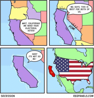 Can't have cancer without CA. It's so beautiful here but it's being run into the ground.: NO, GUYS. THIS IS  BEST FOR BOTH OF  US.  the  POW!  WAIT, CALIFORNIA!  WE NEED YOUR  ELECTORAL  VOTES!  SEE?  ITS NOT SO  BA-  REDPANELS.COM  SECESSION Can't have cancer without CA. It's so beautiful here but it's being run into the ground.