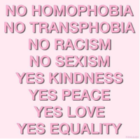 YES EQUALITY: NO HOMOPHOBIA  NO TRANSPHOBIA  NO RACISM  NO SEXISM  YES KINDNESS  YES PEACE  YES LOVE  YES EQUALITY  PİNKLILIES YES EQUALITY