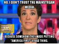 """America, Bad, and Memes: NO,I DON'T TRUST THE MAINSTREAM  MEDIA  COMMON SENSE  SO BLUNT YOU  CAN SMOKE IT!  CONSERVATIVE  THE COMMON  DONT TREAD ON ME  BECAUSE SOMEHOW THEY MADE PUTTING  """"AMERICA FIRST A BAD THING. I guess the last eight years made us forget that America is the good guy... (DS)"""