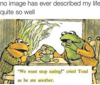 "Memes, 🤖, and Toad: no image has ever described my life  quite so well  ""We must stop eating!"" cried Toad  as he ate another. you know it, fam"