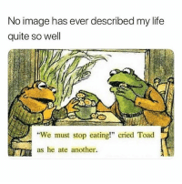"Life, Memes, and Image: No image has ever described my life  quite so well  We must stop eating!"" cried Toad  as he ate another. My life! 😂"