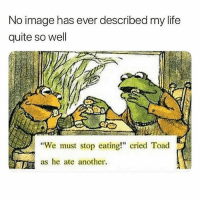 "Life, Image, and Quite: No image has ever described my life  quite so well  We must stop eating!"" cried Toad  as he ate another. literally me 😂 @eats"