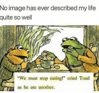 "Life, Weed, and Image: No image has ever described my life  quite  so well  ""We must stop eating!"" cried Toad  as he ate another. If you smoke weed follow @hemperco"