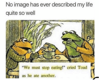 "Life, Memes, and Image: No image has ever described my life  quite so well  ""We must stop eating!"" cried Toad  as he ate another. The accuracy 😂"