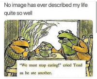 "Life, Image, and Quite: No image has ever described my life  quite so well  ""We must stop eating!"" cried Toad  as he ate another. Meirl"