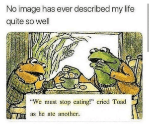 "Funny, Life, and Image: No image has ever described my life  quite so well  ""We must stop eating cried Toad  as he ate another. so my life!! via /r/funny https://ift.tt/2ymoL1k"