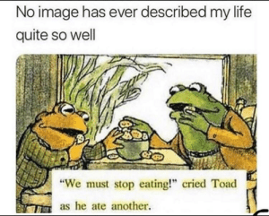 "meirl: No image has ever described my life  quite so well  ""We must stop eating!"" cried Toad  as he ate another. meirl"