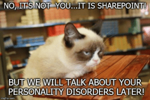 SharePoint issues...always fun!: NO, IT'S NOT YOU...IT IS SHAREPOINT!  BUT WE WILL TALK ABOUT YOUR  PERSONALITY DISORDERS LATER!  imgflip.com SharePoint issues...always fun!