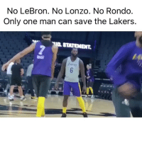Basketball, Los Angeles Lakers, and Nba: No LeBron. No Lonzo. No Rondo  Only one man can save the Lakers.  STATEMENT.  a go The right man for the job 💪 (Via ‪pickuphoop‬-Twitter)