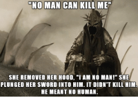 "Funny, Yeah, and Sword: NO MAN CAN KILL ME  SHE REMOVED HER HOOD, ""I AM NO MAN!"" SHE  PLUNGED HER SWORD INTO HIM. IT DIDN'T KILL HIM  HE MEANT NO HUMAN. Yeah but technically..."
