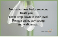 Strong, Never, and How: No matter how badly someone  treats you,  never drop down to their level.  Remain calm, stay strong,  and walk away.  Think Positive Words Think Positive words