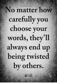 Life, Memes, and 🤖: No matter how  carefully you  choose your  words, they'll  always end up  being twisted  by others  Lessons Taught  By LIFE <3