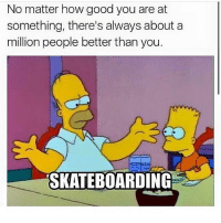 Damn that's deep...💯 skatermemes: No matter how good you are at  something, there's always about a  million people better than you.  SKATEBOARDING Damn that's deep...💯 skatermemes