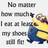 shoes: No matter  how much  I eat at leas  my shoes  still fit!