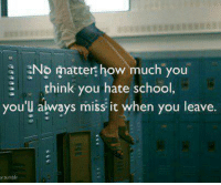 Memes, School, and Tumblr: No matter how much you  think you hate school  you'l always miss it when you leave.  y.tumblr