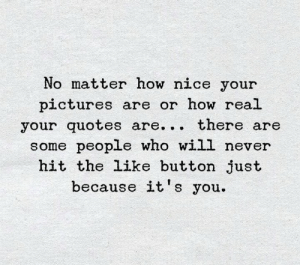 Memes, Pictures, and Quotes: No matter how nice your  pictures are or how real  your quotes are... there are  some people who will never  hit the like button just  because it's you.