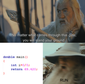 Memes, Run, and Dank Memes: No matter what comes through that gate,  you will stand your ground  double main ()  int i-0/0:  return 69.420:  RUN Programming memes are fun