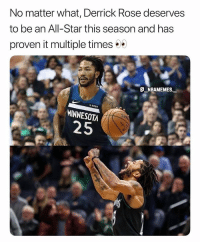 He would be fun to watch 👀🔥 - Follow @_nbamemes._: No matter what, Derrick Rose deserves  to be an All-Star this season and has  proven it multiple times  fitbit  MINNESOTA  25 He would be fun to watch 👀🔥 - Follow @_nbamemes._