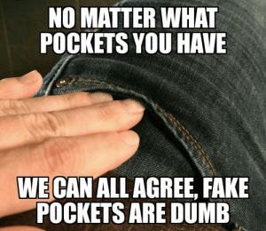 And that's a fact via /r/memes https://ift.tt/2N6OscI: NO MATTER WHAT  POCKETS YOU HAVE  WE CAN ALL AGREE, FAKE  POCKETS ARE DUMB And that's a fact via /r/memes https://ift.tt/2N6OscI