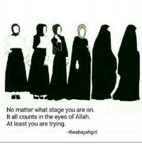Memes, All The, and 🤖: No matter what stage you are on.  It all counts in the eyes of Allah  At least you are trying.  -theabayahgirl May Allah swt make it easy on all the sisters. Even those who don't wear it but at least are trying to be modest in their outfits and have the aim to wear hijab, and those who wear hijab but are working on wearing more loose clothing etc. we all are striving. Let's encourage one another instead of looking down on each other.