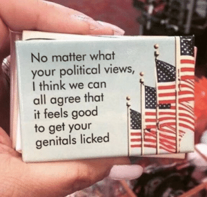Good, Can, and Think: No matter what  your political views,  I think we can  all agree that  it feels good  to get your  genitals licked shitpost