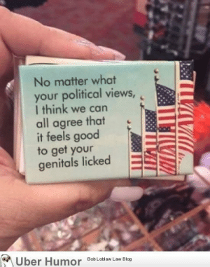 Omg, Tumblr, and Blog: No matter what  your political views,  I think we can  all agree that  it feels good  to get your  genitals licked  oUber Humor Bob Loblaw Law BIo omg-images:  My friend brought my wife back a magnet from Washington D.C.