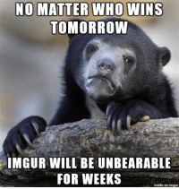 No matter who will be precedent But..: NO MATTER WHO WINS  TOMORROW  IMGUR WILL BE UNBEARABLE  FOR WEEKS  made on imgur No matter who will be precedent But..