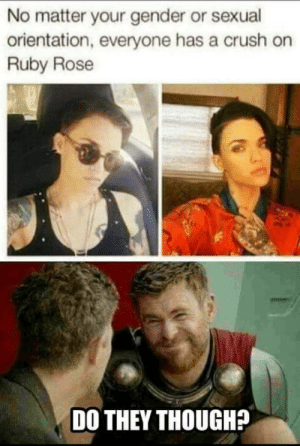 Crush, Ruby Rose, and Rose: No matter your gender or sexual  orientation, everyone has a crush on  Ruby Rose  DO THEY THOUGH? I honestly dont really dig the bloke.