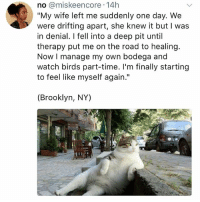 """Memes, Brooklyn, and Birds: no @miskeencore 14h  """"My wife left me suddenly one day. We  were drifting apart, she knew it but I was  in denial. I fell into a deep pit until  therapy put me on the road to healing.  Now I manage my own bodega and  watch birds part-time. I'm finally starting  to feel like myself again.""""  (Brooklyn, NY) Hi"""