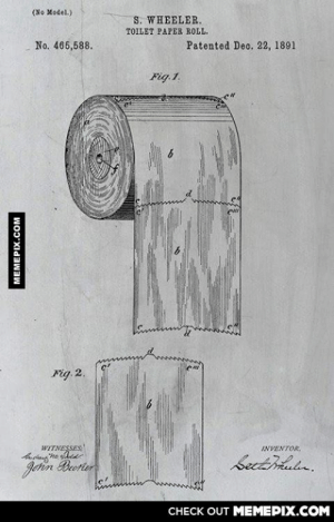 The debate is finally over - Inventors notes 1891omg-humor.tumblr.com: (No Model.)  S. WHEELER.  TOILET PAPER ROLL.  No. 466,588.  Patented Dec. 22, 1891  Fig.1.  Fig. 2.  WITNESSES  INVENTOR,  Sectiula.  Johin Brerter  CHECK OUT MEMEPIX.COM  MEMEPIX.COM The debate is finally over - Inventors notes 1891omg-humor.tumblr.com