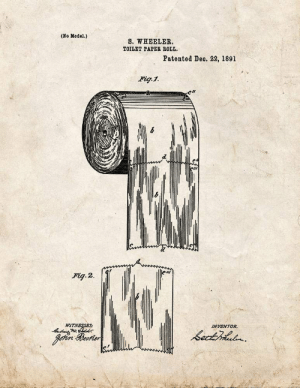 Let's put the debate to rest...: (No Model.)  S. WHEELER.  TOILET PAPER ROLL,  Patented Deo. 22, 1891  Fig.1.  Fig. 2.  WITNESSES:  INVENTOR,  bectihludn.  Johin Reorter Let's put the debate to rest...