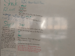 In the process of writing the full script for Shrek on our school's whiteboard...: NO-Near Shnes Hom  Shrck  Manl  AiktsaBerd  Man2  Fallscnpt  May!  Whea.Holdon De  Man5  iom stea Yoh,  kw whab beatBut com  Jour bo  anded Enict  Shrt  Swiek  ter  Shr Shest  as Co alinc thate mase  N1  Sort e  ildn.Se  coie'e  d a brat  Lebay r  fread  blan's  bar ferhe tme In the process of writing the full script for Shrek on our school's whiteboard...
