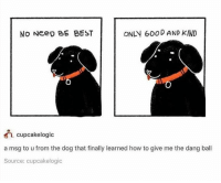 "Best, Good, and How To: No Neeo BE BEST  ONLY 600D AND KIND  cupcakelogic  a msg to u from the dog that finally learned how to give me the dang ball  Source: cupcakelogic <p>Only Good and Kind via /r/wholesomememes <a href=""http://ift.tt/2C3BbPj"">http://ift.tt/2C3BbPj</a></p>"