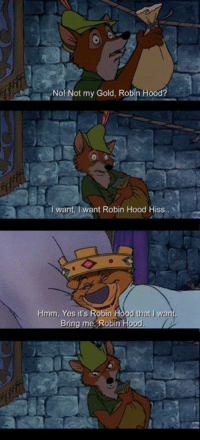 hiss: No! Not my Gold. Robin Hood?  I want, want Robin Hood Hiss, X  Iva  Hmm, Yes it s Robin H  Bring me Robin Hood.