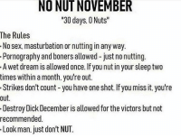 "Memes, Sex, and Dick: NO NUT NOVEMBER  30 days. 0 Nuts""  The Rules  No sex. masturbation or nutting in any way  Pornography and boners allowed - just no nutting  A wet dream is allowed once. If you nut in your sleep two  times within a month. you're out.  Strikes don't count -you have one shot. If you miss it. you're  out.  Destroy Dick December is allowed for the victors but not  recommended.  Look man. just don't NUT. being a girl is good sometimes"