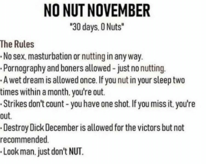 "Dank, Memes, and Sex: NO NUT NOVEMBER  30 days. 0 Nuts""  The Rules  .No sex. masturbation or nutting in any way.  .Pornography and boners allowed -just no nutting  A wet dream is allowed once. If you nut in your sleep two  times within a month. you're out.  Strikes don't count - you have one shot.Ifyoumiss it. you're  out.  Destroy Dick December is allowed for the victors but not  recommended.  Look man.just don't NUT. It is time comrades! by spork117 MORE MEMES"