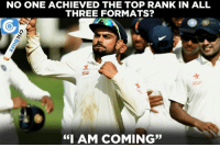 """A great chance for Virat Kohli to reach the top spot in all three formats.: NO ONE ACHIEVED THE TOP RANK IN ALL  THREE FORMATS?  Scar  """"I AM COMING"""" A great chance for Virat Kohli to reach the top spot in all three formats."""