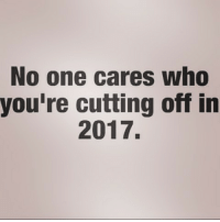 no-one-care: No one cares who  you're cutting off in  2017.