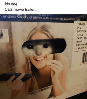 Cats, Target, and Movie: No one:  Cats movie trailer:  REATE  n endless variety of dishes with easy-to-use preset functions  REATE  TARGET  P.O  DPC-ITEM  STYLE  CASE PA  MADE  CARTON DI  L:48.8cm W  3972 Its ok if my child comes out as gay, but ill be damned if they come as a furry.